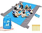 POPCHOSE Outdoor Blanket, Compact Picnic Blanket Water Resistant Picnic Mat 108 X 85 inches for 7 Adults, Pocket Beach Blanket with 6 Stakes for Travel, Camping, Hiking