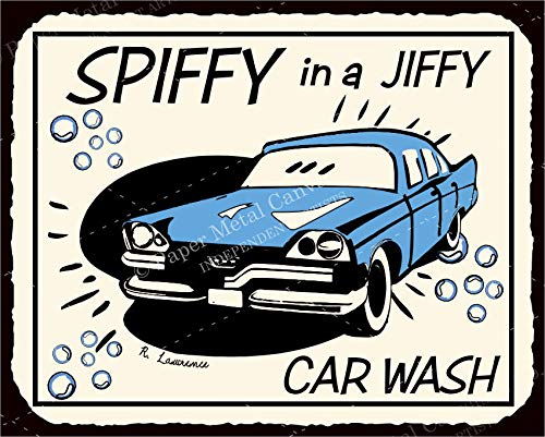 Car Wash Spiffy Vintage Automotive Retro Tin Vintage Look Metal Signs
