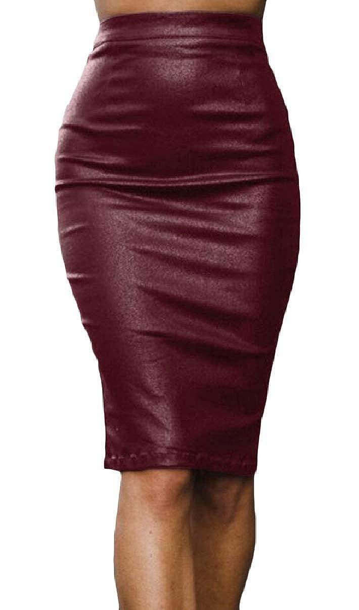 ZXFHZS-CA Women Knee-Length Slim High Rise Club Slit Bodycon Faux-Leather PU Skirt