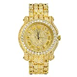 Metaltree98 Techno Pave 7341 G Men's Hip Hop Full Stone Metal Band Watch Gold plated