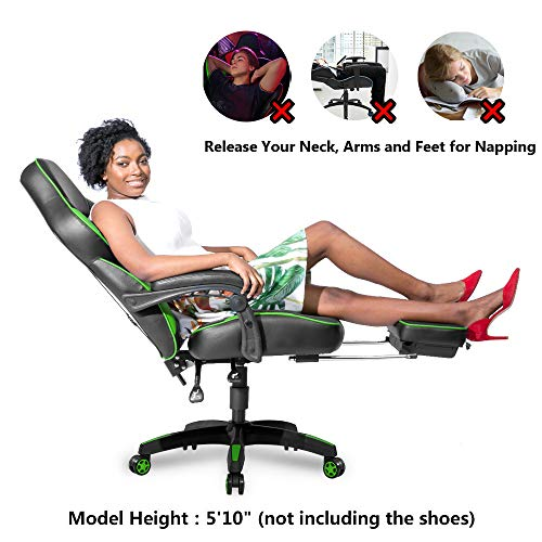 Merax Racing Gaming Chair with Footrest | Ergonomic Office Reclining Chair Computer PC Racer, High Back Large Home Desk Chairs Executive Adjustable Armrests Comfortable Seat (Green)