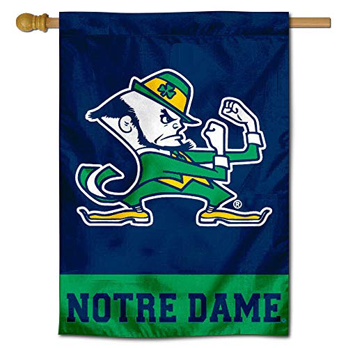 College Flags and Banners Co. Notre Dame House Flag Leprechaun Logo