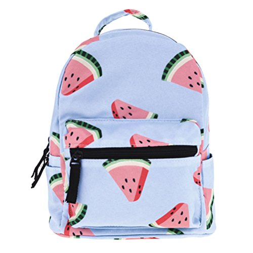 Vintage Cool Canvas Laptop Book Backpack Rucksack (Watermelon Red) - 4