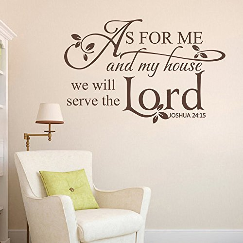 Wall Decal Decor As for me and my house,we will serve the Lord - Scripture Vinyl Lettering Bible Verse Spiritual Religious Wall Decal(White, XLarge)