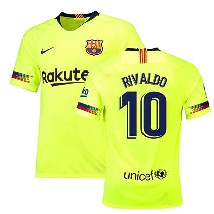 b0757e439 Amazon.com   2018-19 Barcelona Away Football Soccer T-Shirt Jersey (Rivaldo  10) - Kids   Clothing