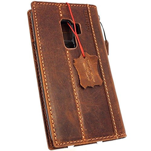 Genuine real Tan Leather Case for Samsung Galaxy S9 plus Book Wallet Luxury closure Cover S Handmade Retro Id jafo holder cards slots s 9 daviscase