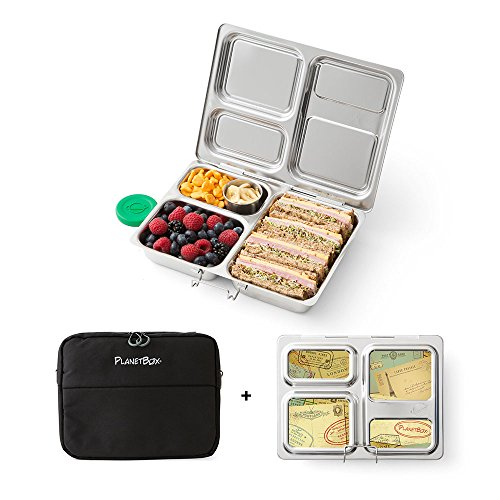 PlanetBox LAUNCH Eco-Friendly Stainless Steel Bento Lunch Box with 3 Compartments for Adults and Kids - Black Sleeve with Air Mail - Steel Box Planet Stainless Lunch