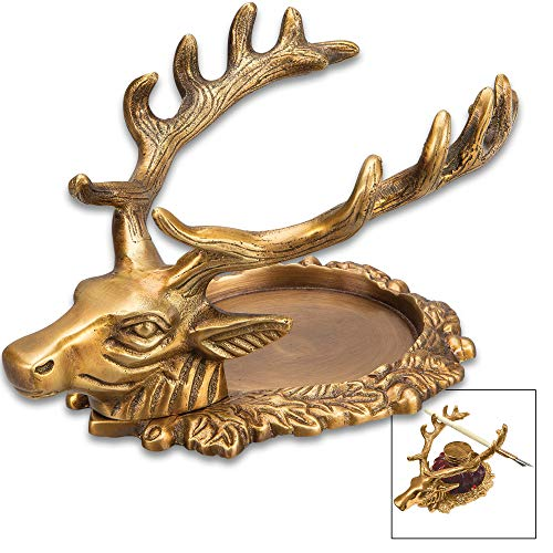Madison Bay Co Antiqued Brass Stag Deer Inkwell Stand and Pen Holder, 4.25 Inches Wide X 6 Inches Long