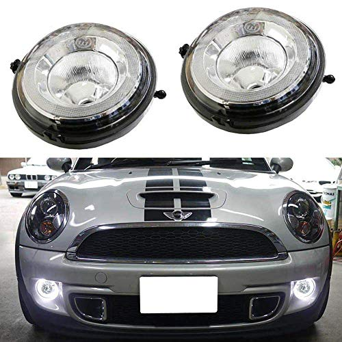 iJDMTOY Direct Fit LED Daytime Running Light Kit For MINI Cooper R55 R56 R57 R59 R60 R61, White High Power LED Halo DRL Driving Lights, Replace OEM Fog Light/Parking Lamps