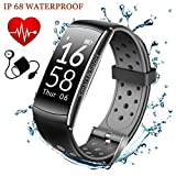 Fitness Tracker with Heart Rate Blood Pressure Monitor - IP68 Waterproof Activity Tracker with Sleep Monitor Calorie Step Counter for iPhone Samsung Nexus LG (Gray)