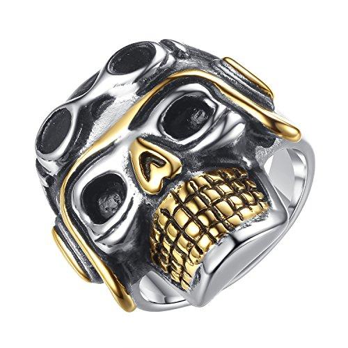 (LineAve Men's Stainless Steel Gothic Pilot Skull Biker Ring, Size 10, 7a5019s10)