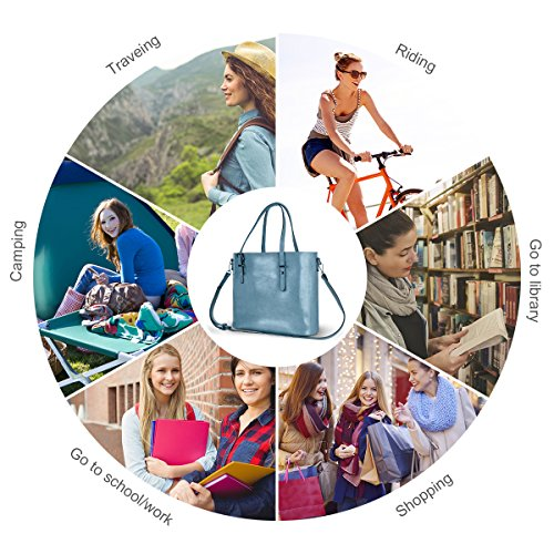 Women Top Handle Satchel Handbags Shoulder Bag Messenger Tote Bag Purse IUKIO (Light Blue) by IUKIO (Image #2)