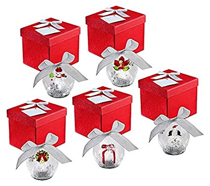qvc kringle express set of 5 illuminated glass ornaments christmas icons gift boxes and batteries included - Qvc Christmas Decorations