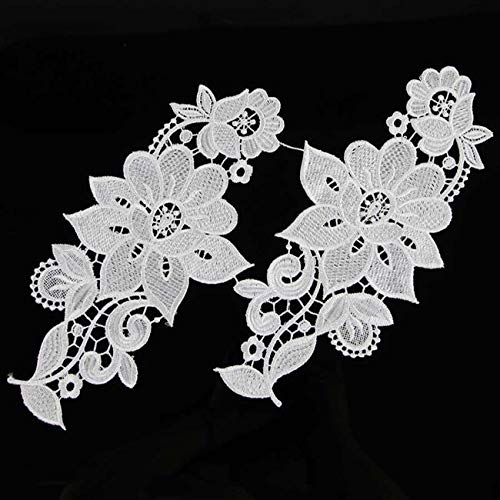1 Couple of Sewing Floral Embroided Flower Lace Trims Applique Bridal Dress DIY (Design - #4) ()