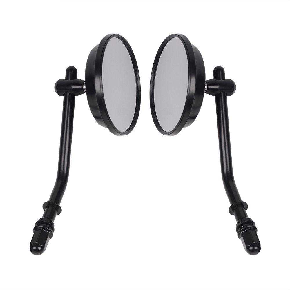 Frenshion 8mm Black Vintage Round Motorbike Side Mirrors Rearview Mirrors Alluminum Stem For Harley Triumph Custom