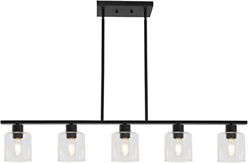 ELUZE Pendant Lighting Modern Chandelier Black 5 Light Clear Glass Shade Kitchen Hanging Light Fixture