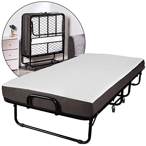 Forfar Foldable Folding Bed -Twin Size, Rollaway Bed with 5 Inch Memory Foam Mattress and a Super Strong Sturdy Frame, No Assembly -Easy Storage Ultra Compact Spring Supported Bedframe, 76x38 Inch
