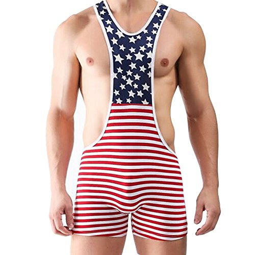 YiZYiF Men's One Piece American Flag Sport Bodysuit Leotard Gym Outfit Underwear Large
