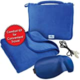 MPNs Travel Blanket Kit, Lightweight, Portable, Plush Coral Fleece with Zippered Carry Pouch, Perfect Size 43 x 59, Can Use as Soft Lumbar Support Pillow, Travel Pillow, Free Eye Mask and Ear Plugs