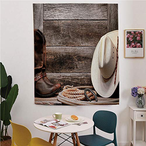 (Western Blackout Window Curtain,Free Punching Magic Stickers Curtain,Authentic American Rodeo Items Lasso Hat Boots Horseshoe Rustic Wooden House Decorative,for Living Room,Study, Kitchen, Dormitory,)