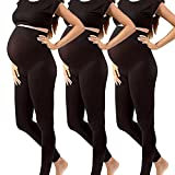 Maternity Leggings Activewear Gym Clothes Jeggings Pants Super Stretch Nursing Clothes (One Size Fits All (Maternity), 3 Pack Black Maternity Leggings)