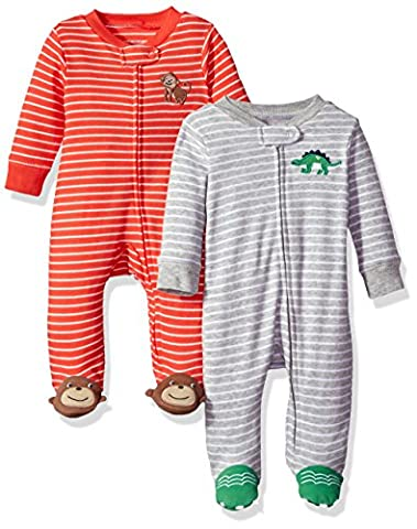 Carter's Baby Boys' 2-Pack Cotton Sleep and Play, Dino/Monkey, 9 Months - Baby Boy Pajamas
