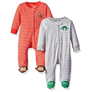 Carter's Baby Boys' 2-Pack Cotton Sleep and Play, Dino/Monkey, 3 Months