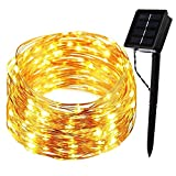 B-right 200 LEDs 66ft Solar Powered Copper Wire String Lights, 8 Modes, Waterproof Outdoor Starry String Lights for Outdoor Landscape Garden Christmas Trees