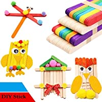 500pcs 114x10x2mm Wood Popsicle Ice Cream Hand Crafts Art Spoon Lolly Pack Cake Making Sticks Holder Colorful Kids Hand Crafts Art Tool