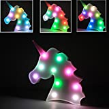 WHATOOK Colorful Unicorn Light,Changeable Night Lights Battery Operated Decorative Marquee Signs Rainbow LED Lamp Wall Decoration Living Room,Bedroom,Home, Christmas Kids Toys