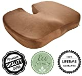 COMFOBEE Seat Cushion 100% Pure Memory Foam - Orthopedic Design to Relieve Back, Sciatica and Tailbone Pain - Perfect for Office Chair, Car seat - Brown Color
