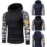 Leedford Fashion Hoodies, Men's Camouflage Long Sleeve Print Hooded Sweatshirt Tops Jacket Coat Outwear (Black, XL)