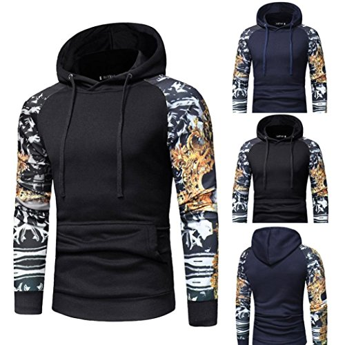 Leedford Fashion Hoodies, Men's Camouflage Long Sleeve Print Hooded Sweatshirt Tops Jacket Coat Outwear (Black, XL) by Leedford Men's Tops