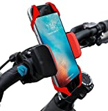 Widras Bike Cell Phone Holder | Universal Bicycle Mount | Red Cradle Clamp for iPhone 4 5 6 7 Galaxy S7 S6 S5 S4 Nexus LG Moto Smartphone GPS 360 Degrees Rotatable, Rubber Strap | for Pokemon Go