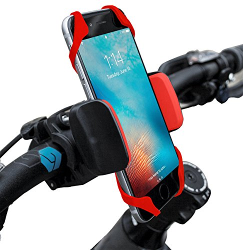 Widras Red Bike Phone Mount Bicycle Holder, Universal Cradle Clamp for Iphone 5/6/7 and Android Smartphones, GPS other Devices, For Pokemon go players, Additional Rubber Straps for adventure biking