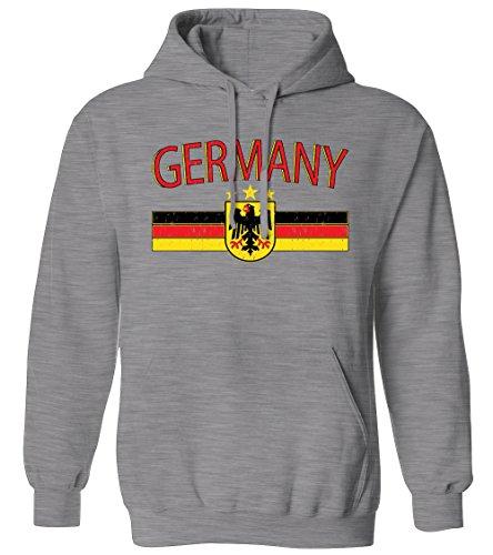 Germany Distressed Flag Stripe Banner -German Eagle Mens Hoodie Sweatshirt (Athletic Gray, Large)