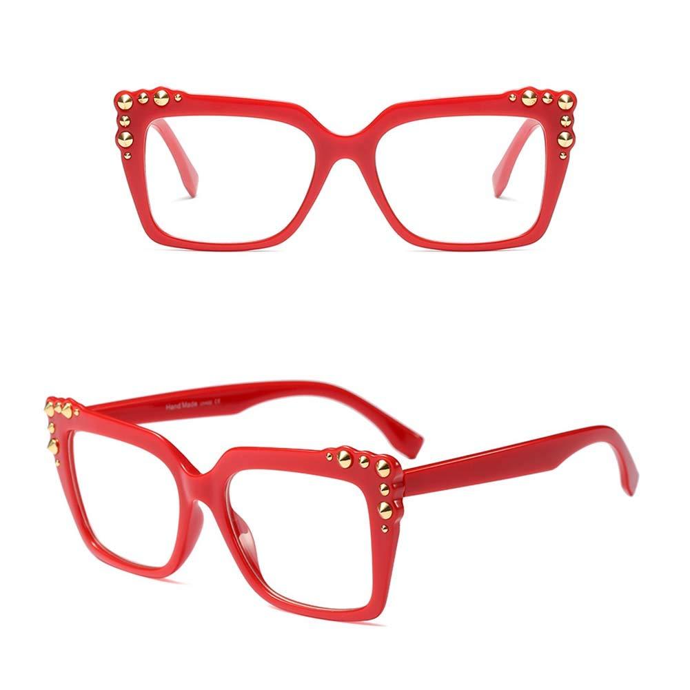 Z& HA Women's Square Optischen Rahmen Nicht-Brille, Niet Dekoration Street Beat Eyewear Twilight
