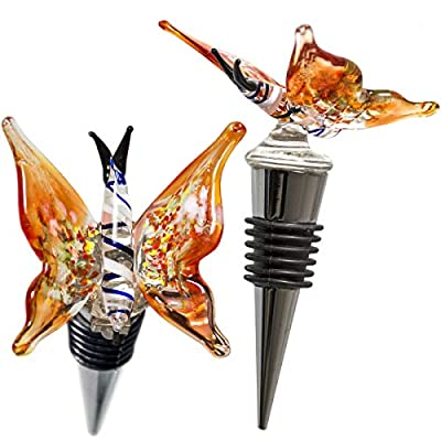 Glass Butterfly Wine Bottle Stopper - Decorative, Colorful, Unique, Handmade, Eye-Catching Glass Wine Stoppers - Wine Accessories Gift for Host/Hostess - Wine Corker/Sealer