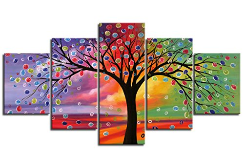 Abstract Painting Tree of Life Canvas Art Wall Art Prints Framed Ready to Hang - 5 Piece Modern