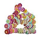 Fityle 約100個入り 縫製 工芸用 花弁 木製ボタン 多色 ドレス作り 明るい 20ミリメートルの商品画像