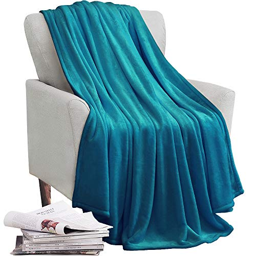 (KAWAHOME Fleece Blanket Lightweight Fuzzy Microfiber Throw Blankets All Season for Bed Couch Sofa Throw Size 50 X 60 Inches Teal)