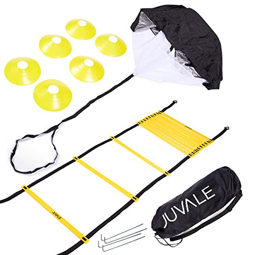 Juvale Speed and Agility Training Set - Includes Agility Ladder with Carrying Bag, 6 Disc Cones, Resistance Parachute, 4 Steel Stakes - for Speed, Coordination, Footwork, Explosiveness, Black, ()