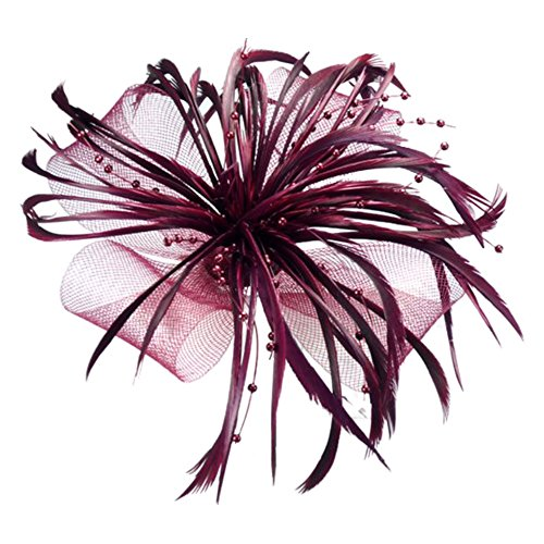 Burgundy Net Bow and Feathers Hair Beak Clip Brooch Corsage Fascinator Bridal