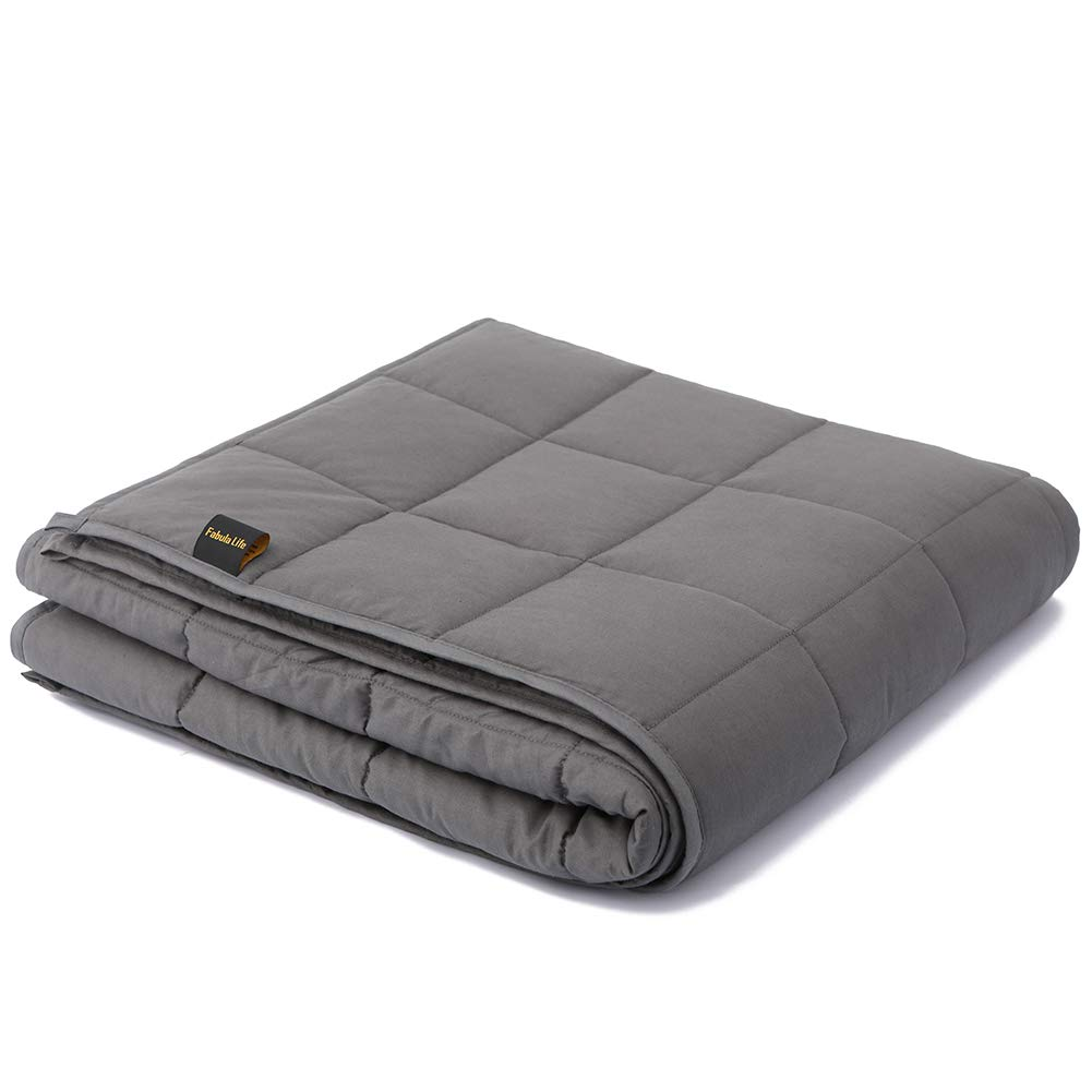 """Fabula Life Weighted Blanket 15 lbs for Kids Adult, Premium Cotton Heavy Blanket with Glass Beads for Calm Deep Sleep, Full Size (72""""x48"""", 15 lb) sleep blankets - 51YMuBKsO5L - Sleep blankets review – benefits of sleeping with weighted blankets"""