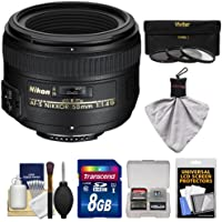 Nikon 50mm f/1.4G AF-S Nikkor Lens with 8GB SD Card + 3 UV/CPL/ND8 Filters + Kit for D3200, D3300, D5300, D5500, D7100, D7200, D750, D810 Cameras