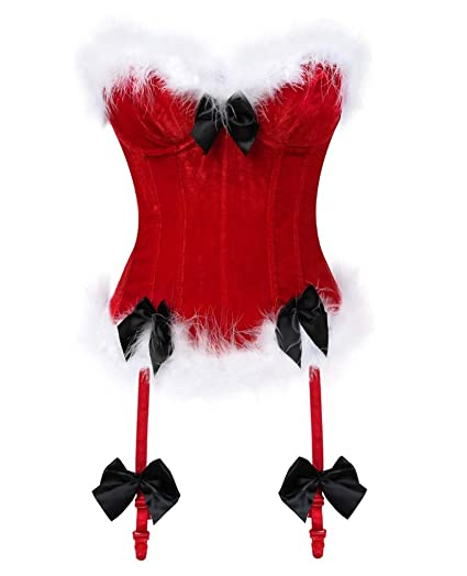 362fc32da28 Seazoon Womens Chritmas Red Corset Vintage Bustier Plus Size Waist Trainer  Red Christmas Coustume for Women