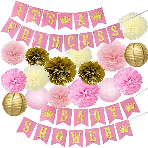 Baby Shower Decorations for Girl Pink and Gold Princess Baby Shower Party Supplies It's a Princess Baby Shower Banner Pink Gold Cream Tissue Pom Poms Paper Lanterns Gender Reveal Set for Girl ()