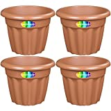 4 x CrazyGadget Large Planter Round Plastic Garden Flower Plant Herb Pot Contemporary Design Style - Indoor and Outdoor (Terracotta (Brown), 33cm)