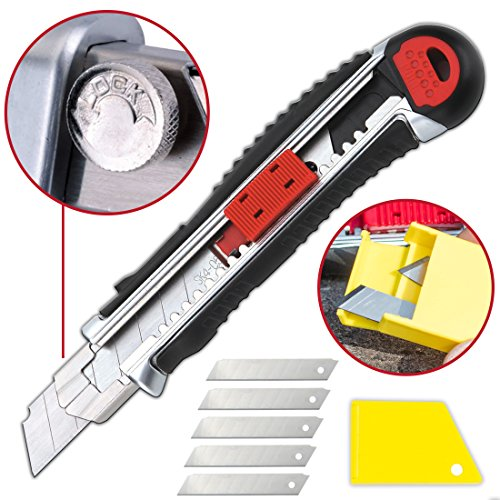 Box Wallpaper - Retractable Box Cutter Utility Knife - EASY SELF LOADING Zinc-Alloy Heavy Duty Carpet, Rope, Cardboard COMFORTABLE HANDLE Knive, Extra 4 Sharp Rust Proof Razor Snap Off Blades Set - Metal SAFETY LOCK