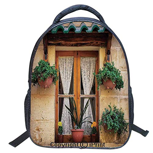 Designer Original Art Print Casual Backpack,Travel Backpack 16Inch Laptop Bag,16 inch,Basket of Flowers Historic Building Window with Classic Lace Curtain Inside Image